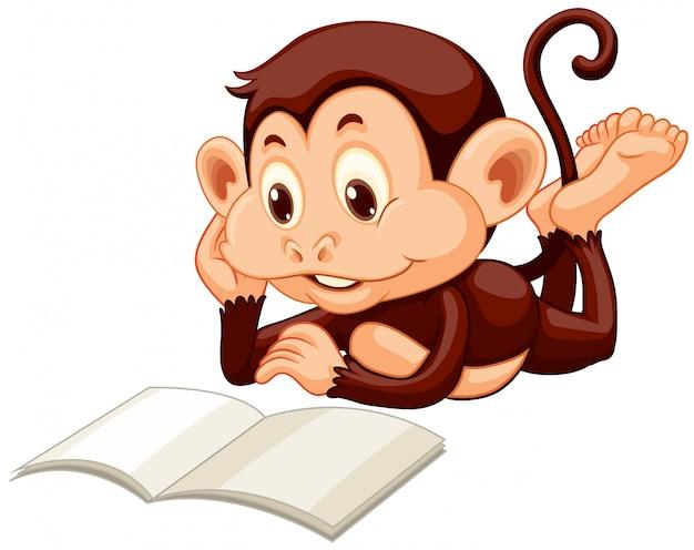 Kleine aap lezen van een boek