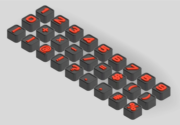 Kleine afgevlakte kubussenbrieven. de driedimensionale axonometrische reeks cijfers en symbolen