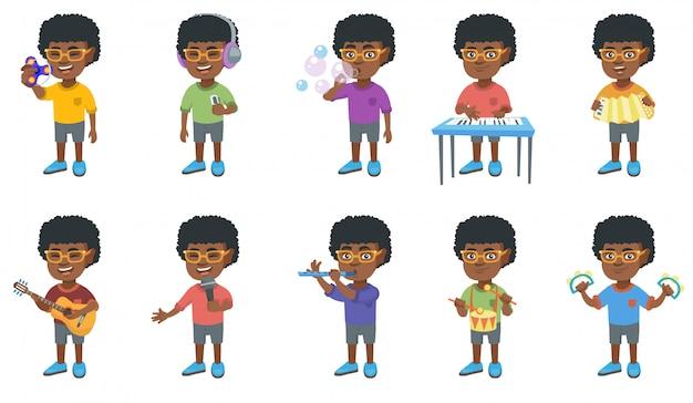 Kleine afrikaanse jongen tekenset