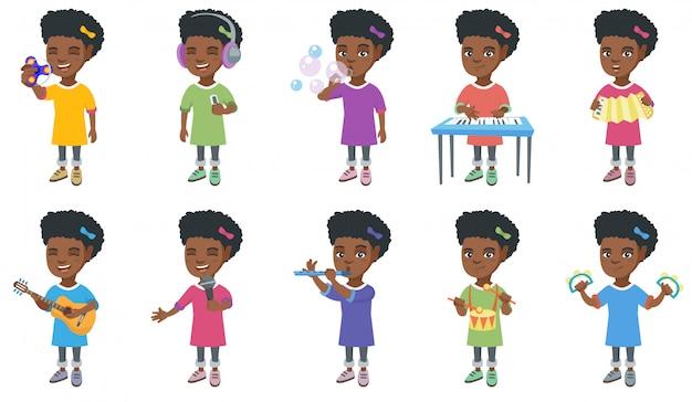 Kleine afrikaanse meisje tekenset