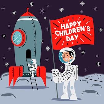 Kleine astronaut die de vlag van de gelukkige kinderdag op de maan platte vectorillustratie opheft