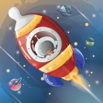 Kleine astronaut die met een raket vliegt