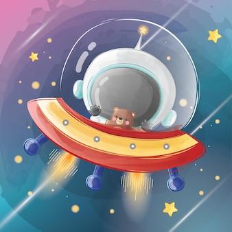 Kleine astronaut die met ufo vliegt