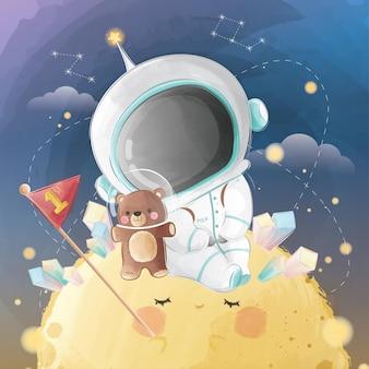 Kleine astronaut jongen zittend op de maan
