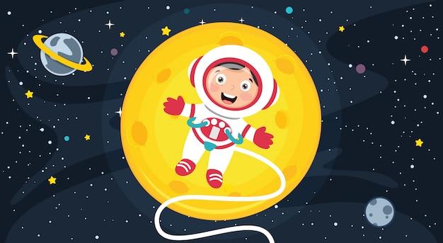 Kleine atsronaut die onderzoek doet naar de ruimte