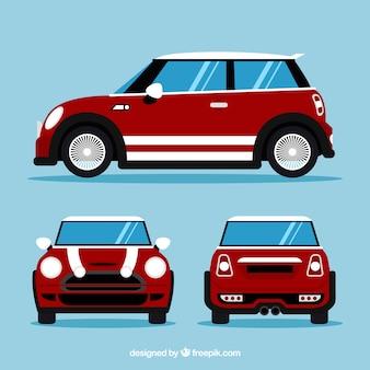 Kleine auto in verschillende uitzichten