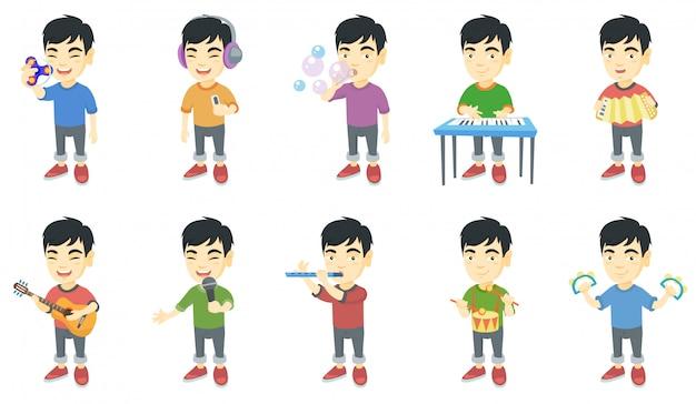Kleine aziatische jongen tekenset