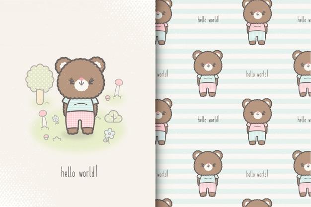 Kleine baby beer kaart en naadloze patroon. kinderen illustratie met schattige achtergrond