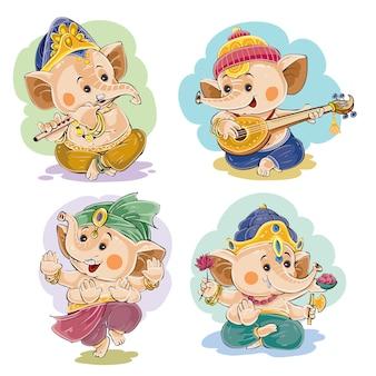 Kleine baby Ganesha, Indiase god van wijsheid en welvaart, in traditionele klederdracht