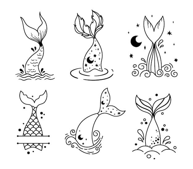 Kleine baby zeemeermin staart geïsoleerd clipart zee onderwater leven magische vissenstaart en monogram frame