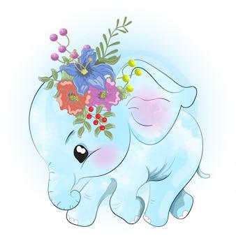 Kleine babyolifant loopt