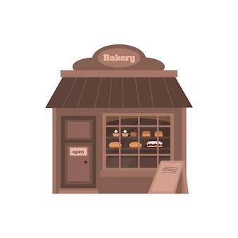 Kleine bakkerij winkel met brood in showcase cartoon vectorillustratie geïsoleerd