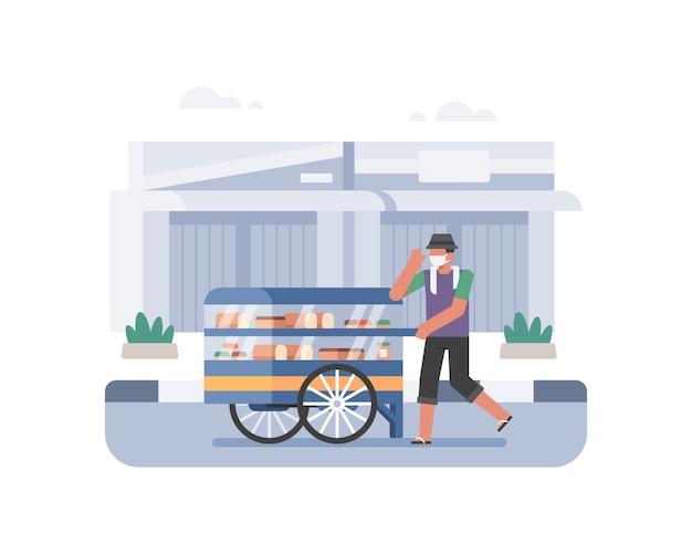 Kleine bedrijfsillustratie met het karakter van de broodverkoper