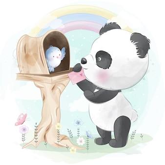 Kleine beer geeft liefdesbrief aan vogel