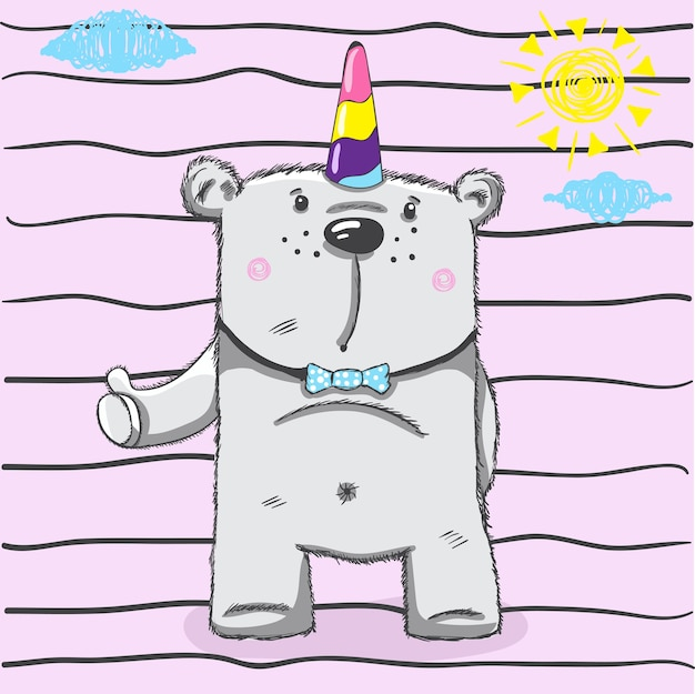 Kleine beer hoofd tekening voor baby tee afdrukken