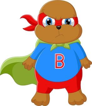 Kleine beer in superheldenkostuum