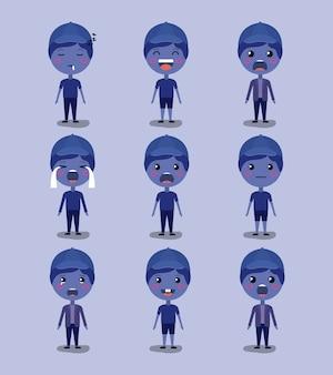 Kleine blauwe jongens emoticon set kawaii karakters