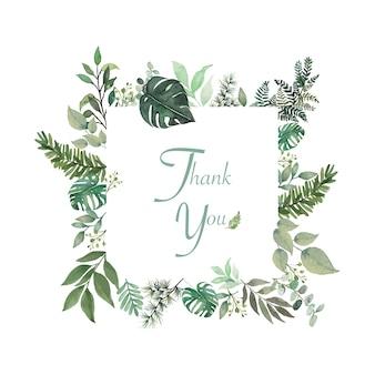 Kleine bloem en groene bladeren rond rechthoek bedankt woord in open ruimte frame Premium Vector