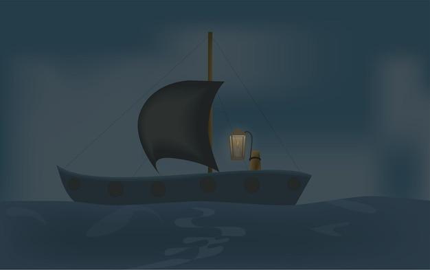 Kleine boot met lichten die in de oceaan dobberen als het slecht weer is