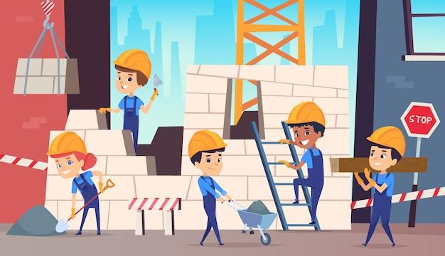 Kleine bouwers. jongens grappig maken van professionele baan bouwhelm achtergrond. bouwer werknemer professional, karakter persoon voorman illustratie