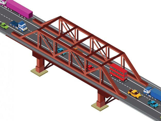 Kleine brug isometrische weergave