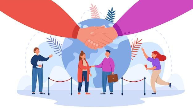 Kleine cartoon man en vrouw handen schudden. vlakke afbeelding