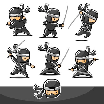 Kleine cartoon zwarte ninja set