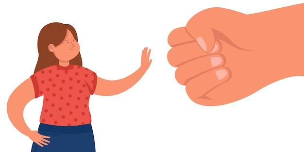 Kleine cartoonvrouw protesteert tegen gigantische vuist