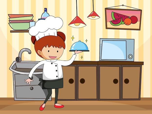 Kleine chef-kok in de keukenscène met apparatuur