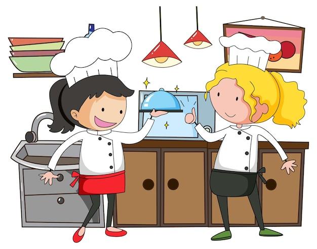 Kleine chef-kok met keukenapparatuur op witte achtergrond