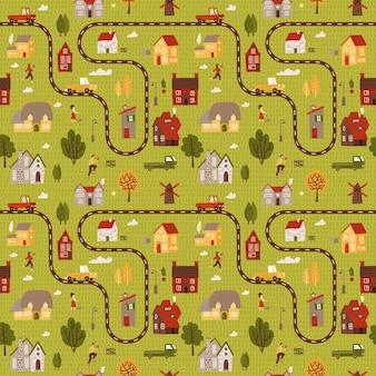 Kleine citymap naadloze patroon. bovenaanzicht van het platteland met huizen, wegen en auto's