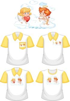 Kleine cupido stripfiguur met set van verschillende shirts geïsoleerd op een witte achtergrond