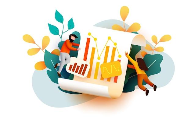Kleine d vliegen en analyseren van bedrijfsdiagramgegevens auditconcept