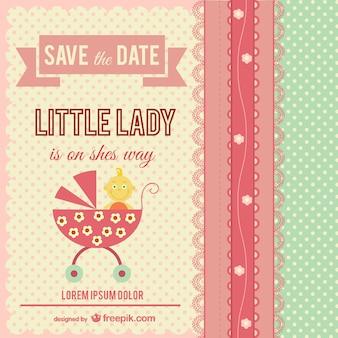 Kleine dame baby shower kaart