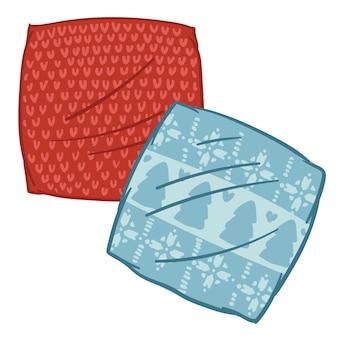 Kleine dekens of kussenslopen voor kerstmis, geïsoleerde kussens met pijnbomen en sneeuwvlokkenornamenten. sfeervolle kerst en nieuwjaar, voorbereiding op de wintervakantie. vector in vlakke stijl