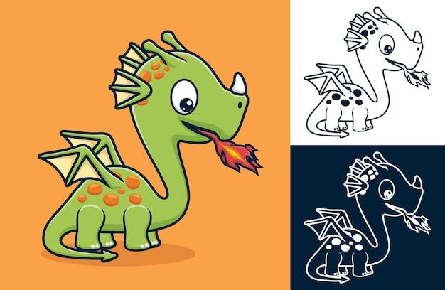 Kleine draak spuit vuur uit zijn bek. vectorbeeldverhaalillustratie in vlakke pictogramstijl