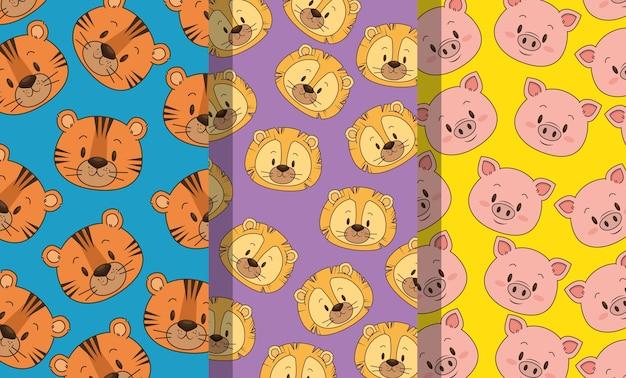 Kleine en schattige dieren hoofden patronen achtergronden