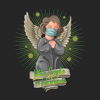 Kleine engel die een masker draagt bij pandemische illustratie