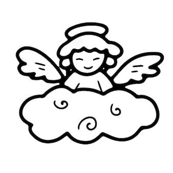 Kleine engel met vleugels en een halo op een wolk in doodle-stijl