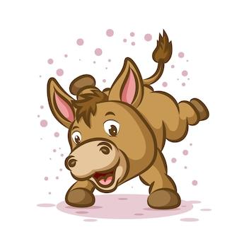 Kleine ezel danst met een blij gezicht en sprankelt om hem heen