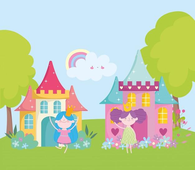 Kleine feeënprinses met gouden kronen en kasteel magisch fantasieverhaalbeeldverhaal