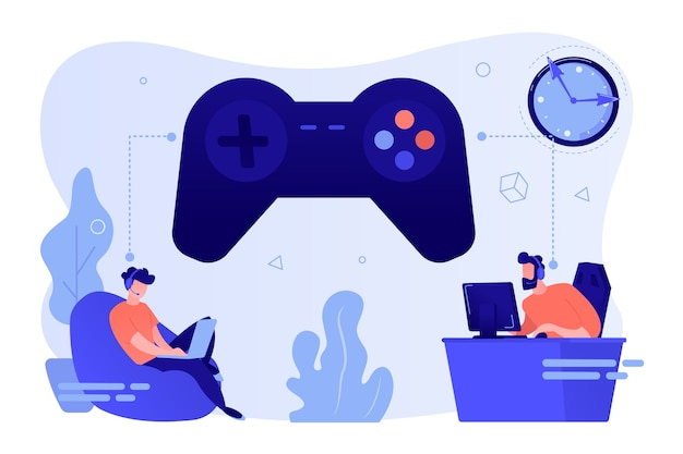 Kleine gamers die online videogames spelen, een enorme joystick en klok