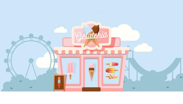 Kleine gelateria winkel, ijssalon voor familiebedrijven