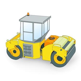 Kleine gele bestratingsafwerkmachines illustratie