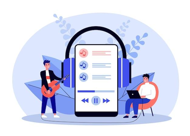 Kleine gelukkig man online concert thuis luisteren. gitaar, hoofdtelefoon, telefoon platte vectorillustratie