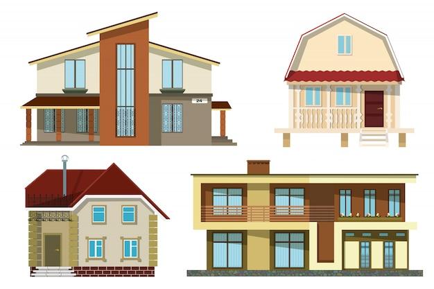 Kleine gezellige landelijke huizen op een witte achtergrond