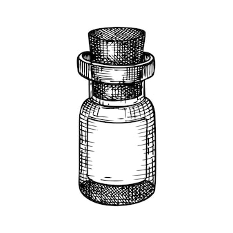 Kleine glazen fles met de hand geschetst.