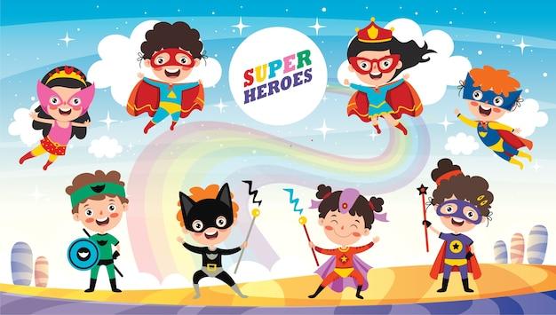 Kleine grappige cartoon superhelden poseren