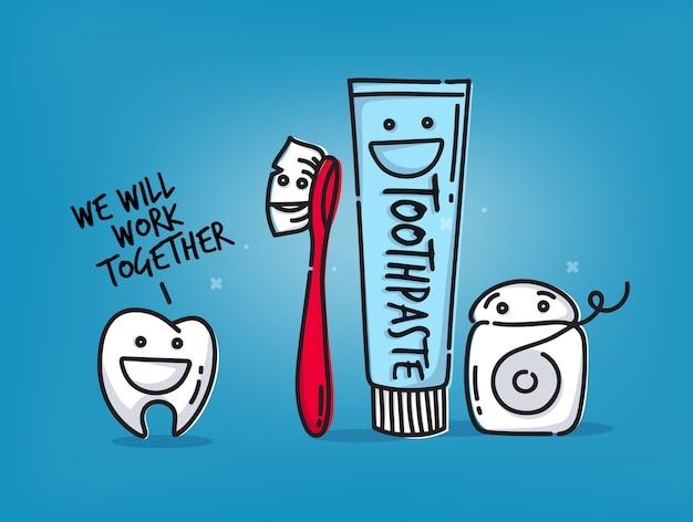 Kleine grappige tand, tandenborstel, tandzijde, tandpasta