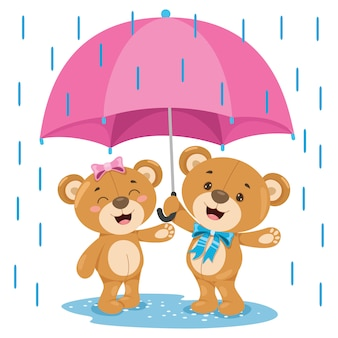 Kleine grappige teddybeer cartoon
